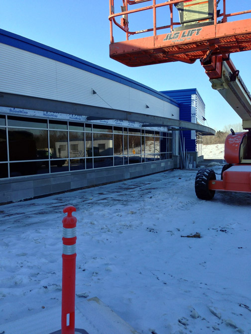 Front of the Park Tool building with cherry picker in the snow