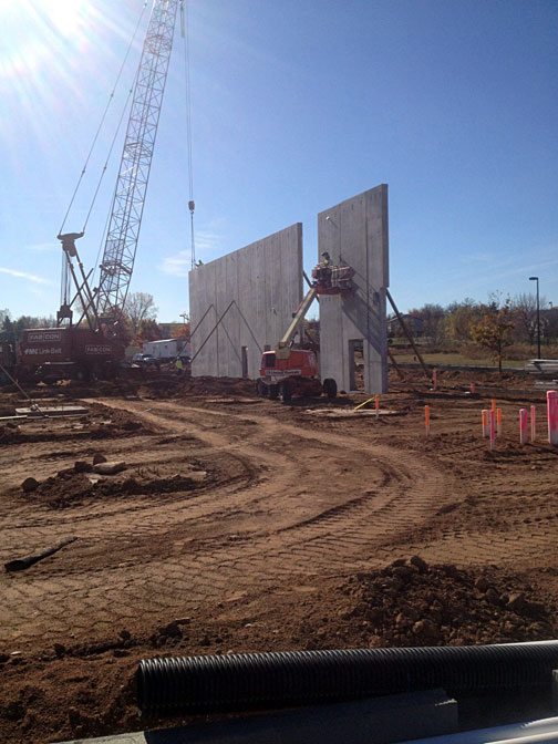 The first wall panels being set in place
