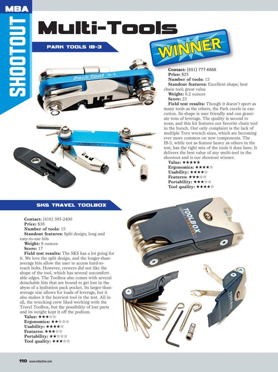 MBA magazine with Park Tool Multitool highlighted