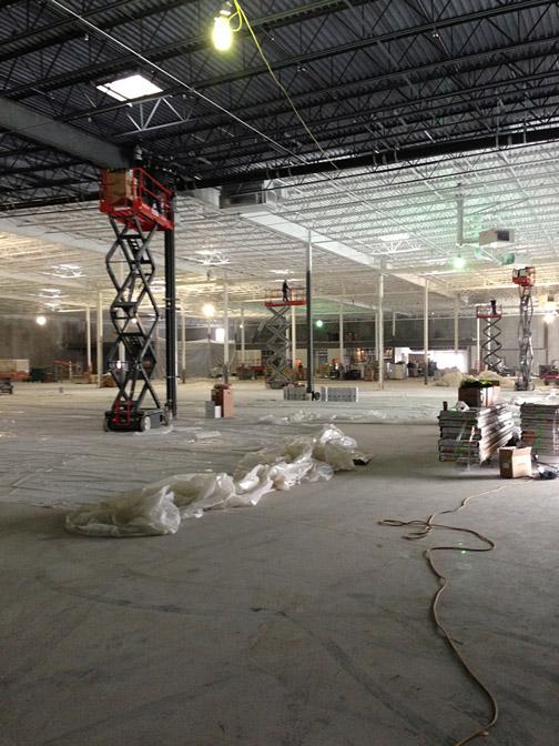 Inside of new Park Tool building, still under construction