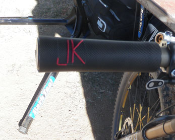 "The initials ""JK"" embroidered on handlebar grips"