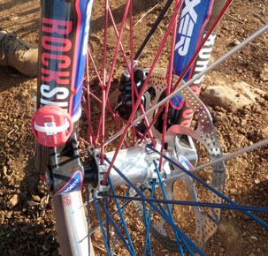 The all important timing chip zip tied to the right fork leg.
