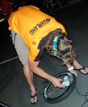 Netherlands cyclist  grinding off that braking surface.