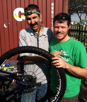 Calvin Jones checking Rob's heart with bike tool