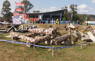 A trial for cyclists, large giraffe patterned logs in a pile