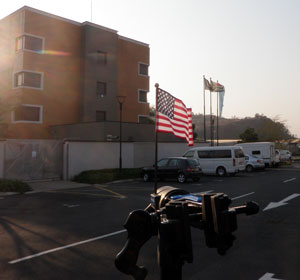 American and South African Flag blowing in the wind