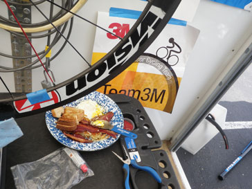 Breakfast meal sitting on a portable workbench