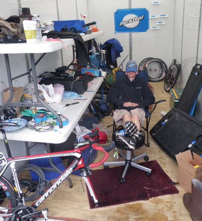 Eric Cambronne taking a nap in the Park Tool repair area
