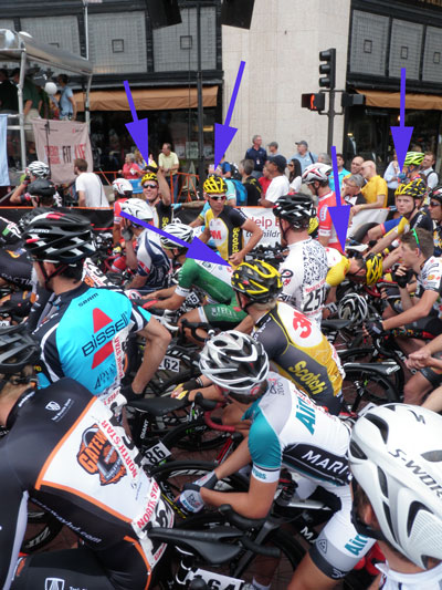 Large pack of cyclists ready for race to start