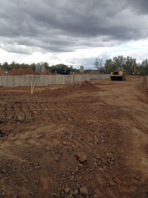 Back side of building loading docks under construction