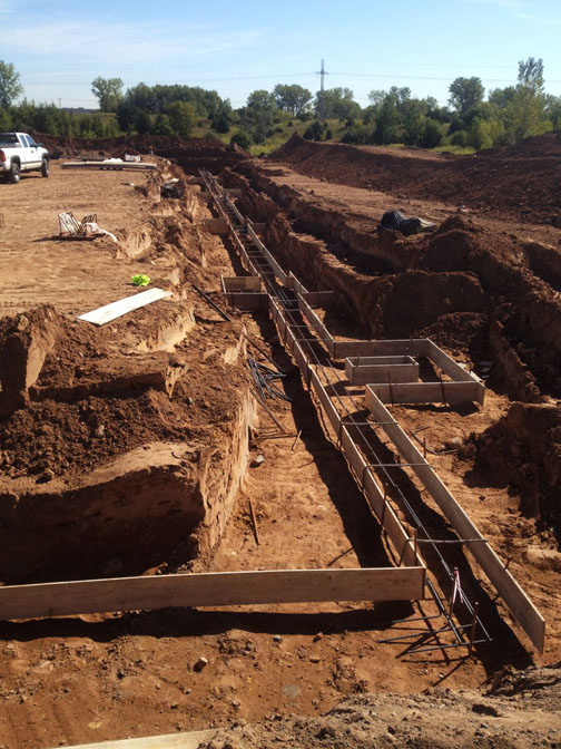 Digging, forming and pouring footings