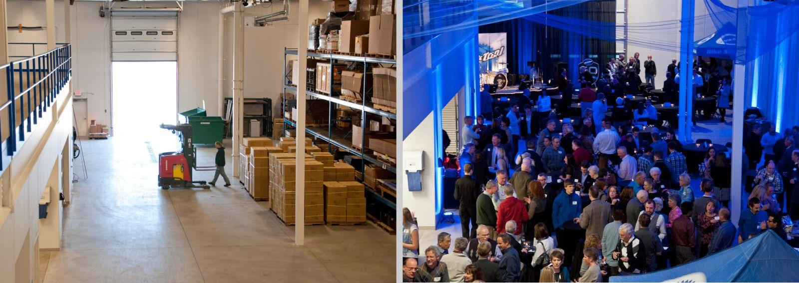 Left: Empty Park Tool Warehouse Right: Same spot in warehouse but full of people at a party