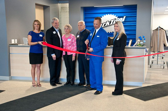 Group cutting ribbon for new Park Tool building