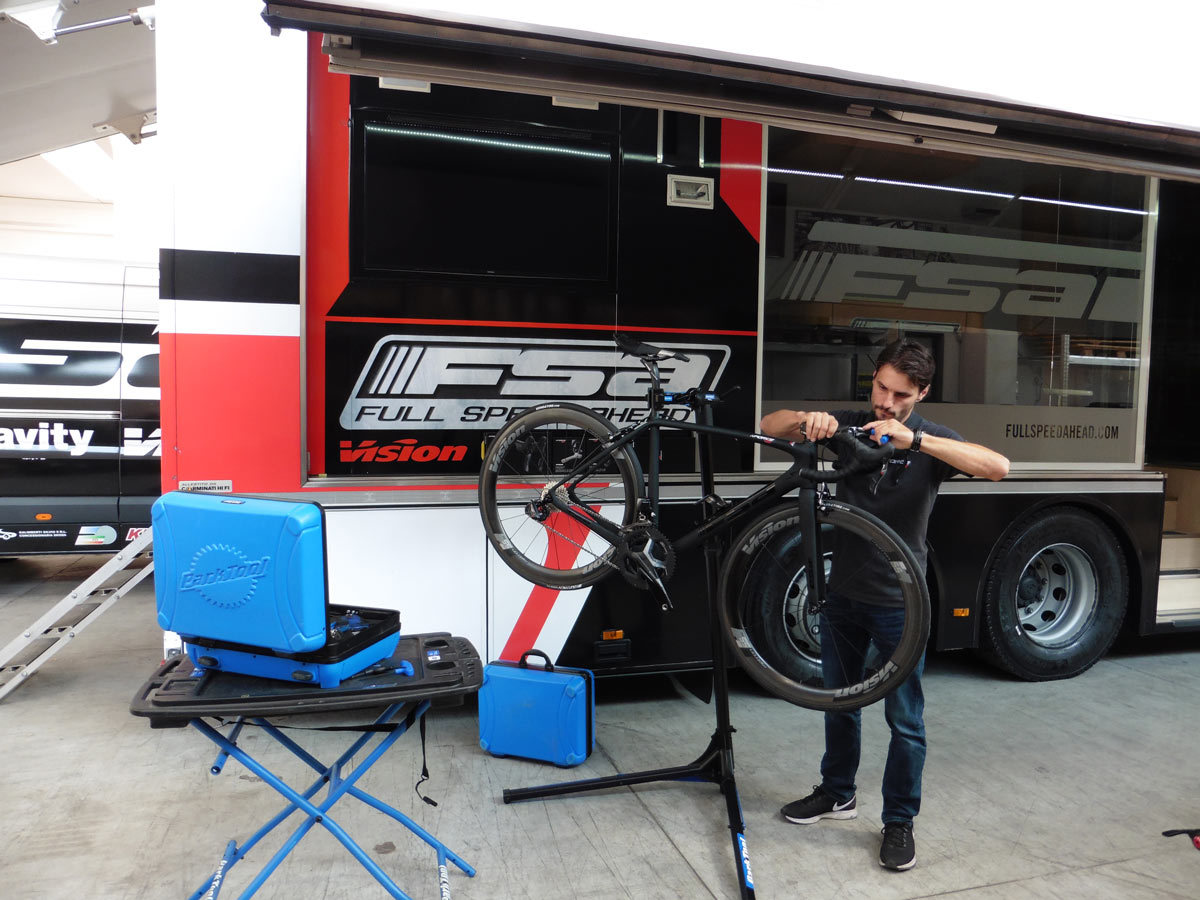 FSA / Vision Europe mobile tech support vehicle with Park Tool products in front