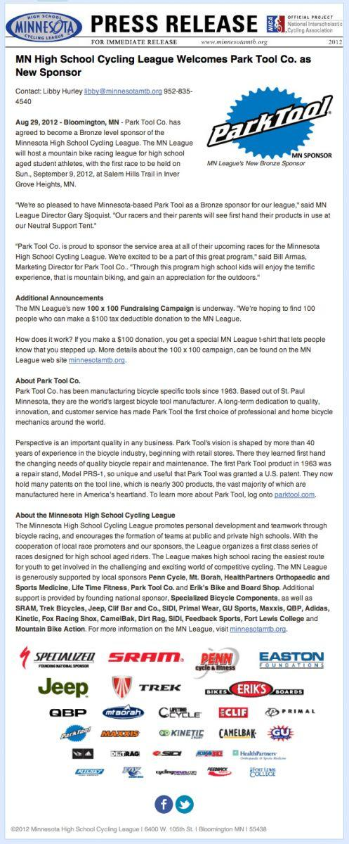 Press release for Park Tool Minnesota Highschool Cycling