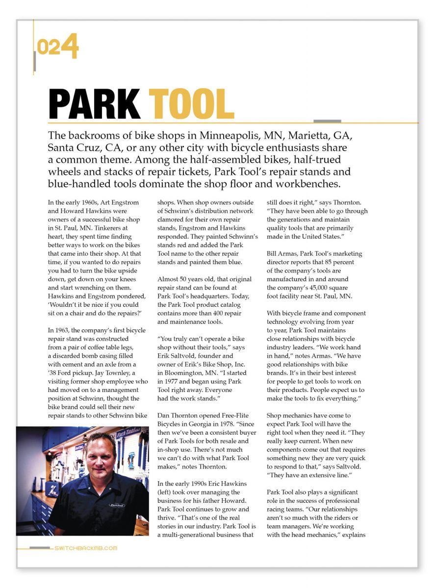 Screenshot of Park Tool Switchback article page one