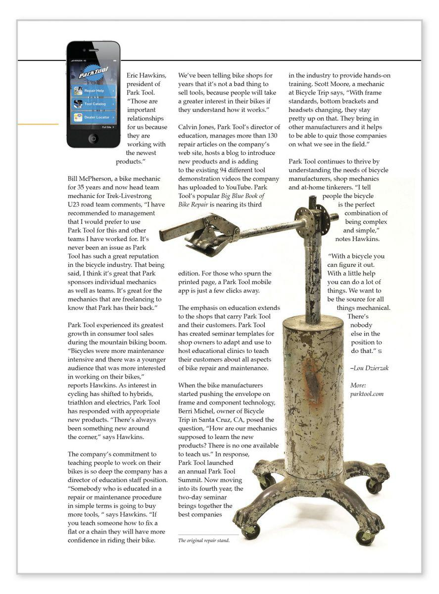 Screenshot of Park Tool Switchback article page two