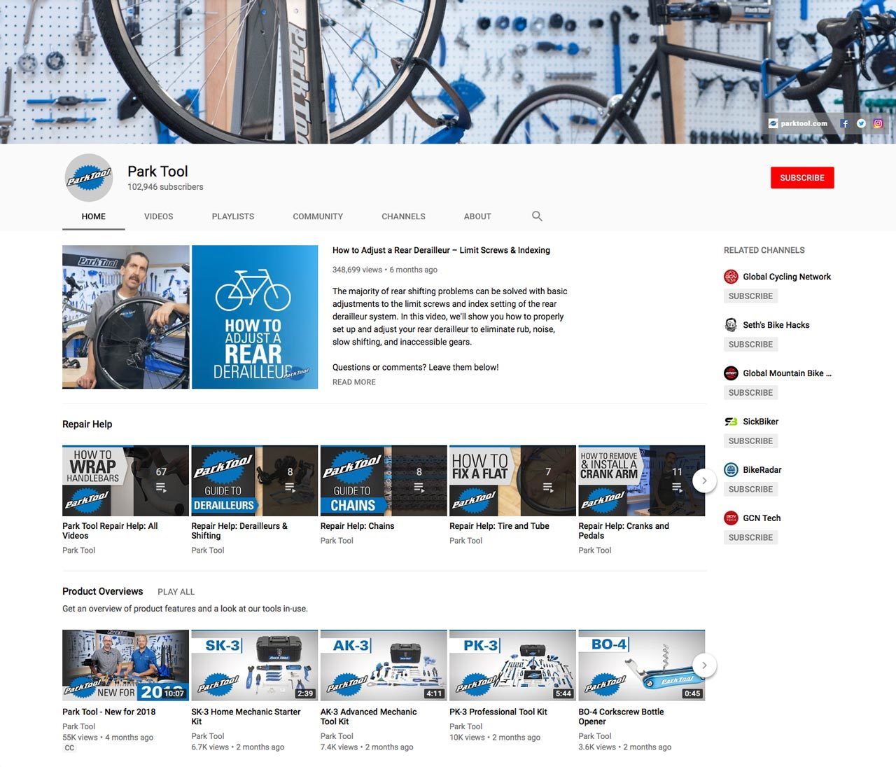 Screenshot of the Park Tool Youtube page