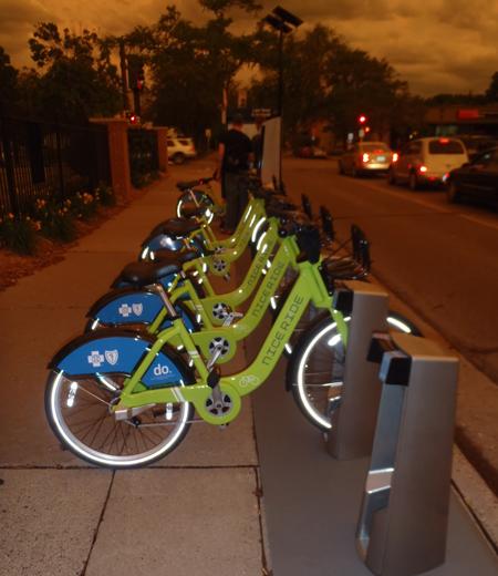Bike sharing station downtown Minneapolis