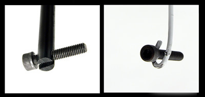 """The plastic """"fishing rod"""" is slotted to release the screw after insertion."""