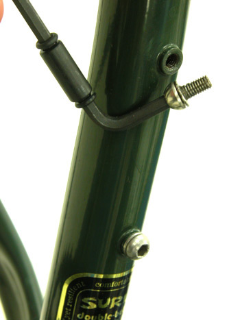 Steel frame with welded water bottle bosses.