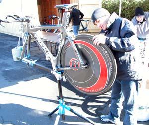 Geoff Brown prepares a time trial bike