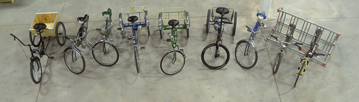 The nine different bicycles available to ride in the Park Tool warehouse
