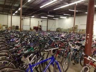 Rows and rows of fixed bikes for free bikes for kids