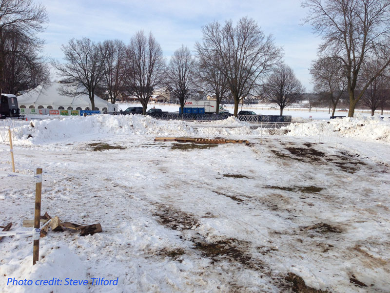 Parking lot plowed in the winter
