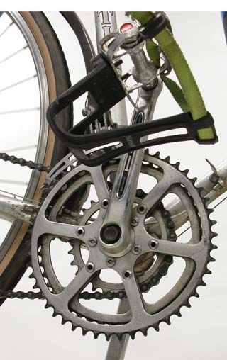 """The two outer rings are close in sizing, which is called """"half-step"""" gearing."""