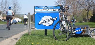 Bike resting against Park Tool sign