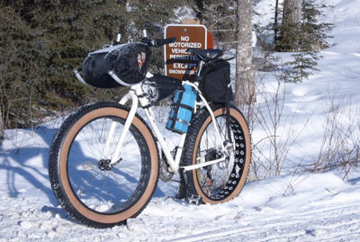 The Ostor sleeping-bag-horns grace the bike of snow racer Matthew Evingson.
