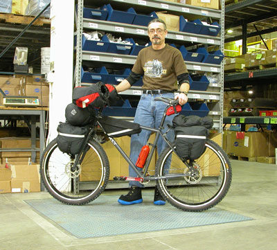 Pierre and his ride. The Park Tool shipping scale is reading 226 pounds.