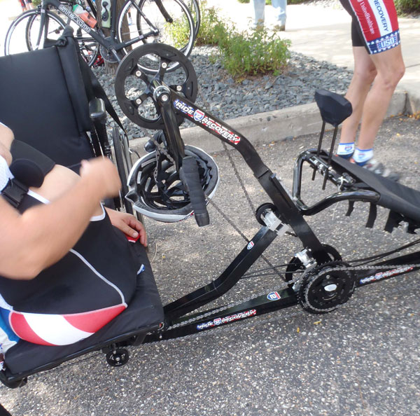 Close up of Chuck's hand cycle bike