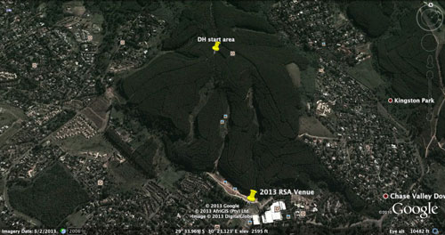 Google earth shot of the The XCE course for 2013 MTB Worlds