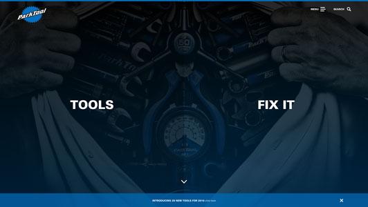 Screenshot of the Park Tool website homepage
