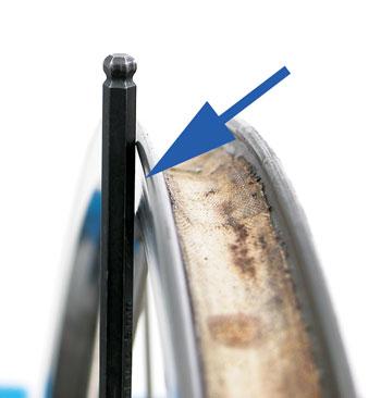 A rim worn dangerously thin at the braking surface
