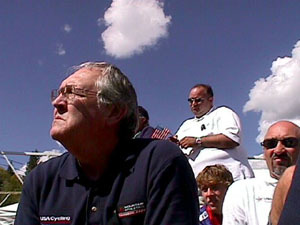 USA Team staff members TJ Grove, Eric Moore, and Bernard Condevaux watch the services. Their look says what we all felt.