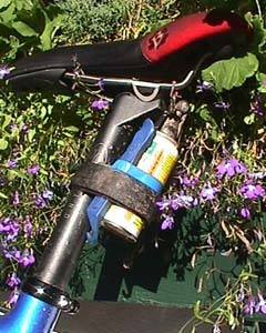 During the race, the riders prefer simple tools. Here a single Park Tool TL-1 tire lever and canned air hopefully will not be needed by Sue Hayward, elite woman rider.