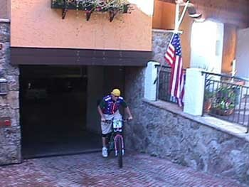 This is the underground parking garage of the hotel. There is a steep ramp going in, easy for cross-country bikes, but quite an effort for downhill bikes to go up.