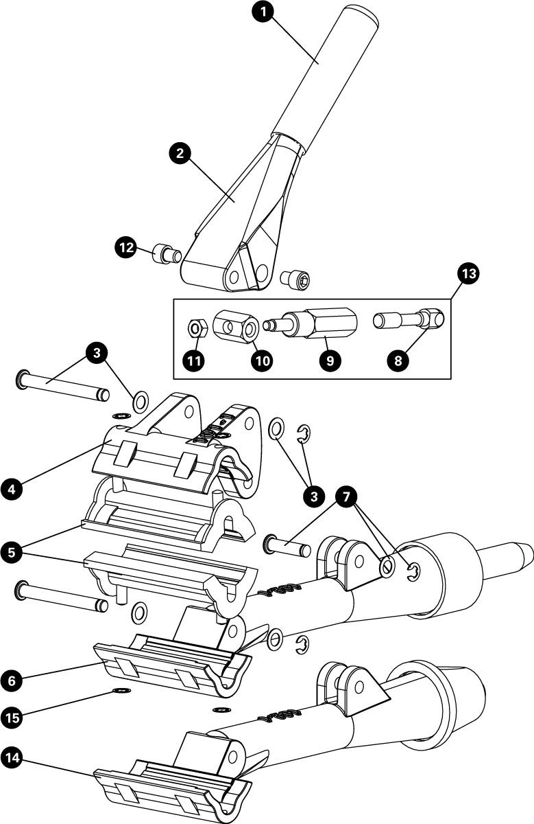 Parts diagram for 100-3C Professional Adjustable Linkage Clamp, click to enlarge