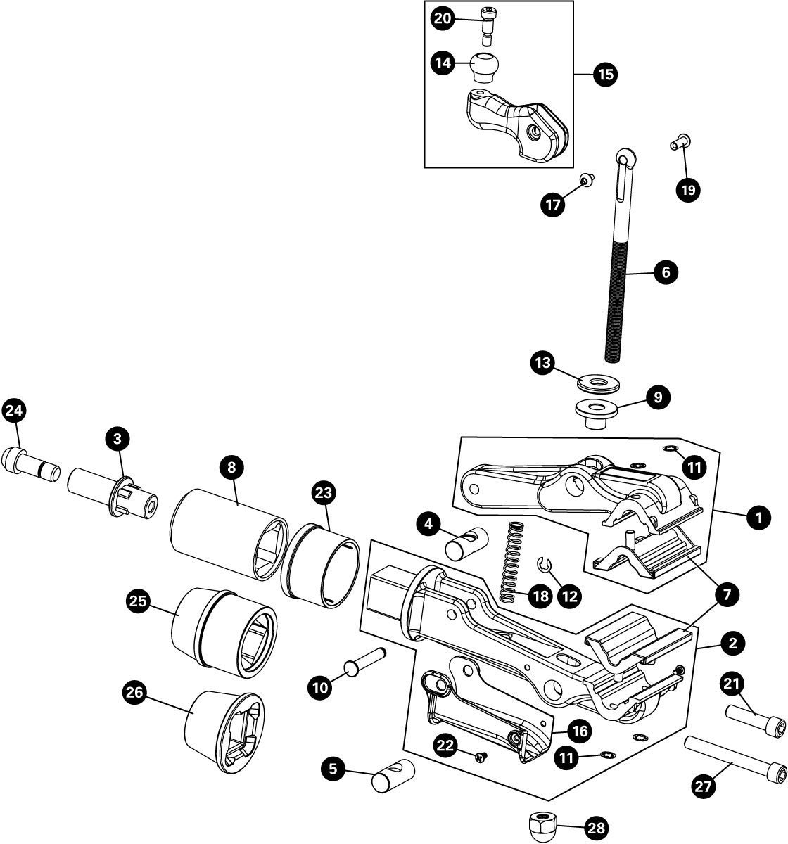 Parts diagram for 100-3D Professional Micro-Adjust Clamp, click to enlarge