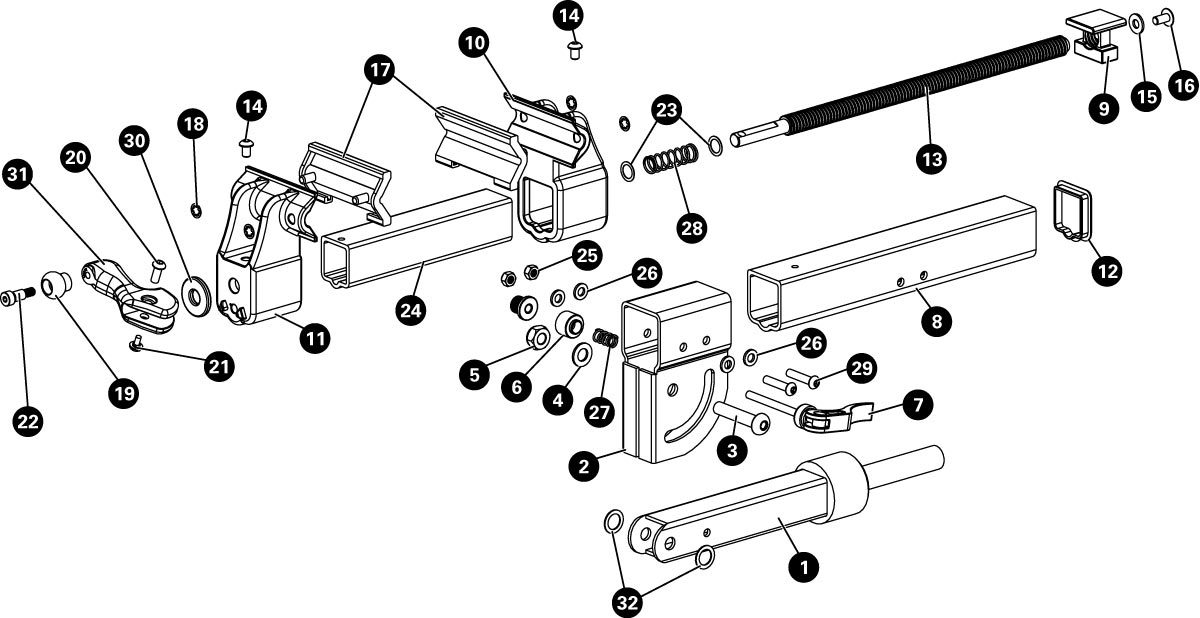 Parts diagram for 100-7X Extreme Range Clamp, click to enlarge