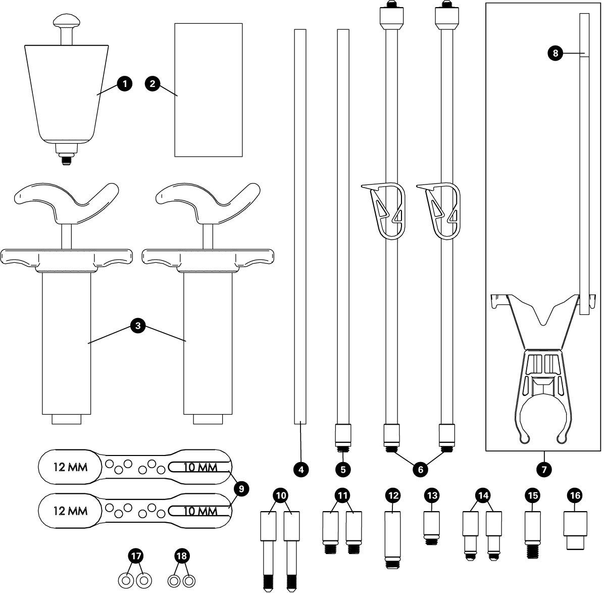 Parts diagram for BKM-1 Hydraulic Brake Bleed Kit — Mineral, click to enlarge