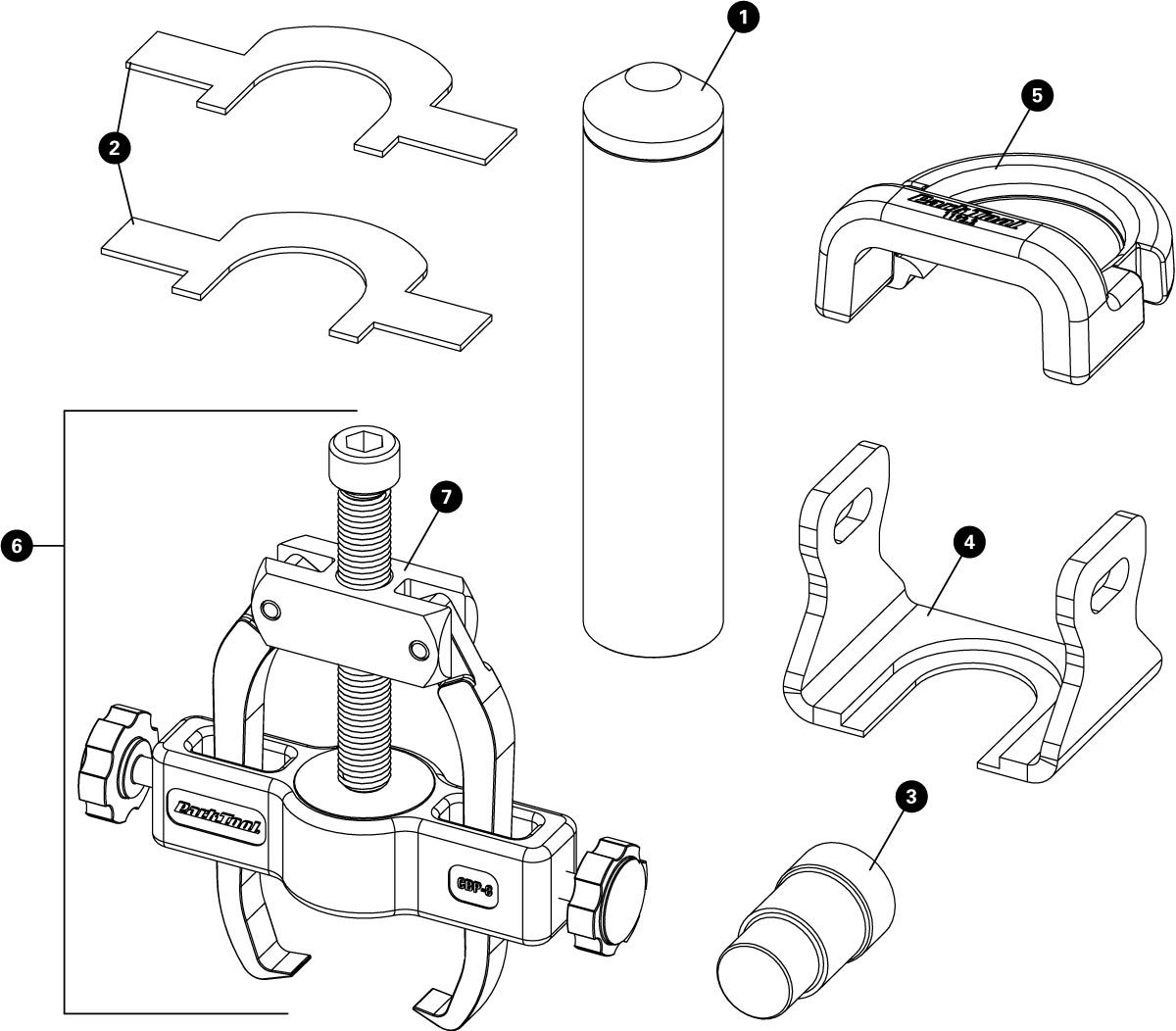 Parts diagram for CBP-8 Campagnolo® Crank and Bearing Tool Set, click to enlarge