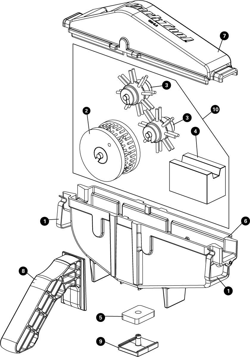 Parts diagram for CM-5.3 Cyclone™ Chain Scrubber, click to enlarge