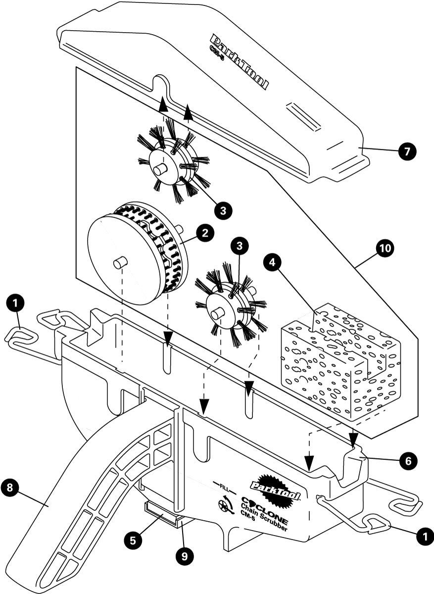 Parts diagram for CM-5 Cyclone™ Chain Scrubber, click to enlarge