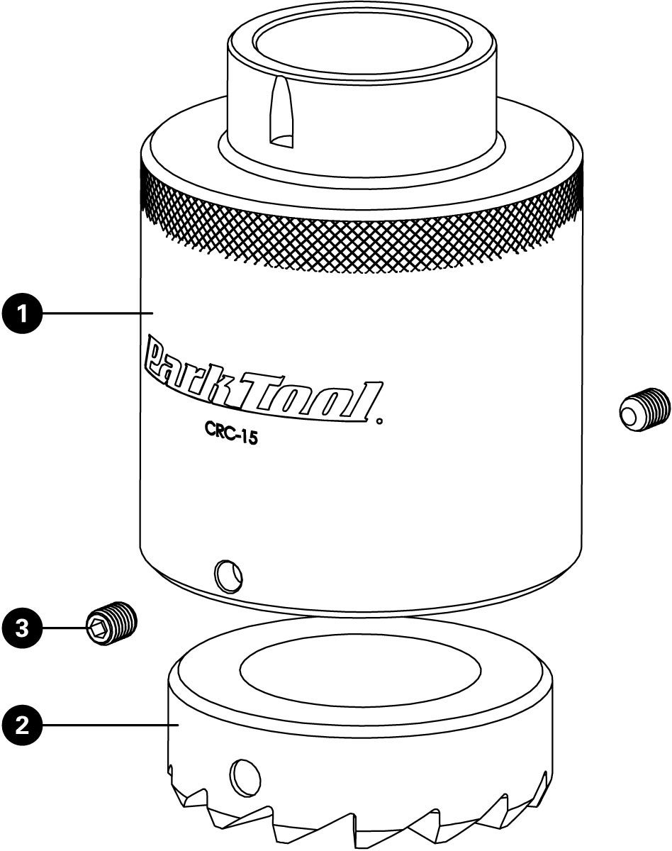 Parts diagram for CRC-15 Crown Race Cutter Adaptor, click to enlarge