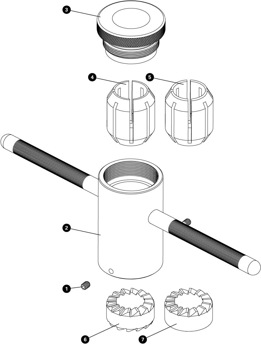 Parts diagram for CRC-1 Crown Race Cutting Tool, click to enlarge