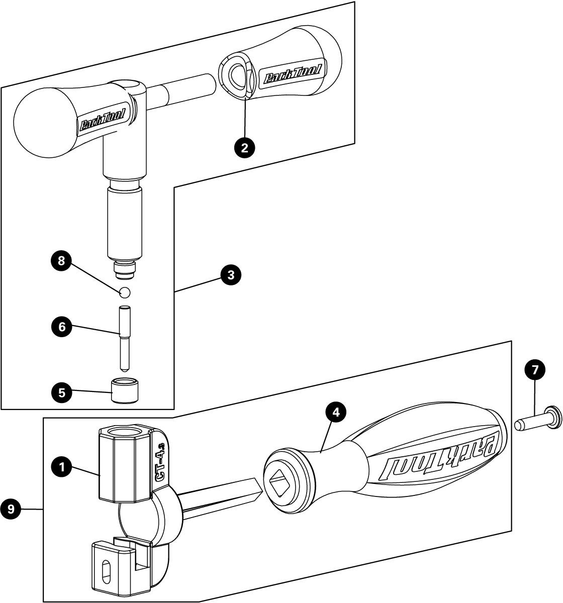 Parts diagram for CT-4.3 Master Chain Tool with Peening Anvil, click to enlarge